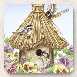 Chickadees Birdhouse Coaster