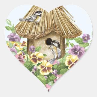 Chickadees Birdhouse Heart Sticker