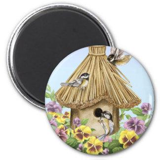 Chickadees Birdhouse Magnet