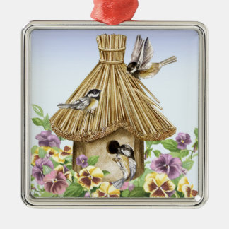 Chickadees Birdhouse Metal Ornament