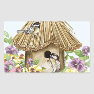Chickadees Birdhouse Rectangular Sticker