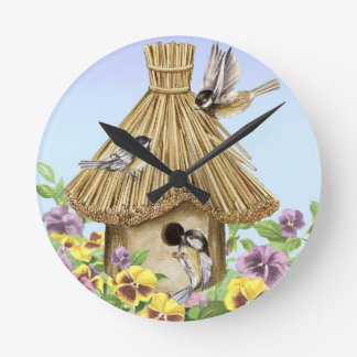 Chickadees Birdhouse Round Clock