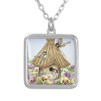 Chickadees Birdhouse Silver Plated Necklace