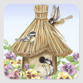 Chickadees Birdhouse Square Sticker