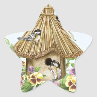 Chickadees Birdhouse Star Sticker