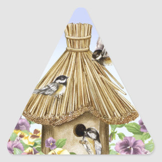 Chickadees Birdhouse Triangle Sticker