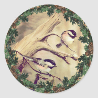 CHICKADEES & FIR WREATH by SHARON SHARPE Classic Round Sticker