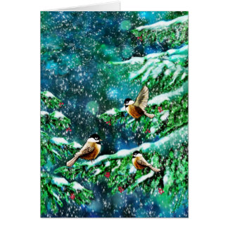 Chickadees Frolicking in the Trees Card