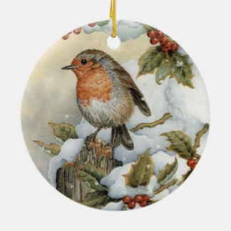 Chickadees Holly Berries Ornaments Birds