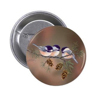 CHICKADEES & PINECONES by SHARON SHARPE 6 Cm Round Badge
