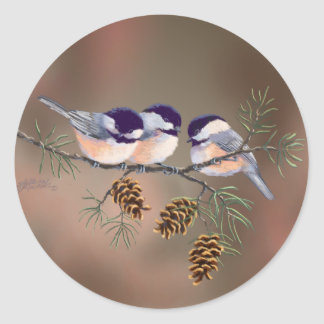 CHICKADEES & PINECONES by SHARON SHARPE Classic Round Sticker