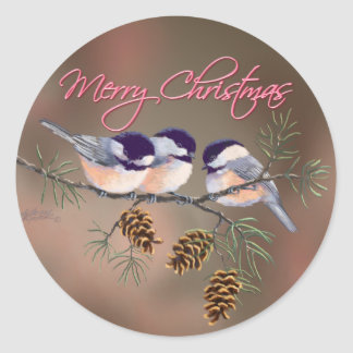CHICKADEES, PINECONES & TEXT by SHARON SHARPE Classic Round Sticker