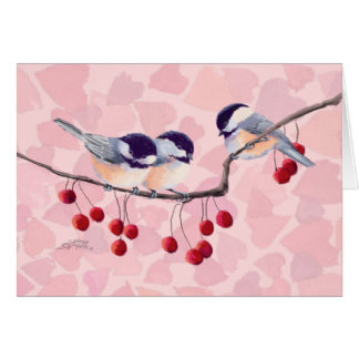CHICKADEES & RED BERRIES by SHARON SHARPE Greeting Card