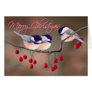 CHICKADEES, TEXT & RED BERRIES 2 by SHARON SHARPE Greeting Card