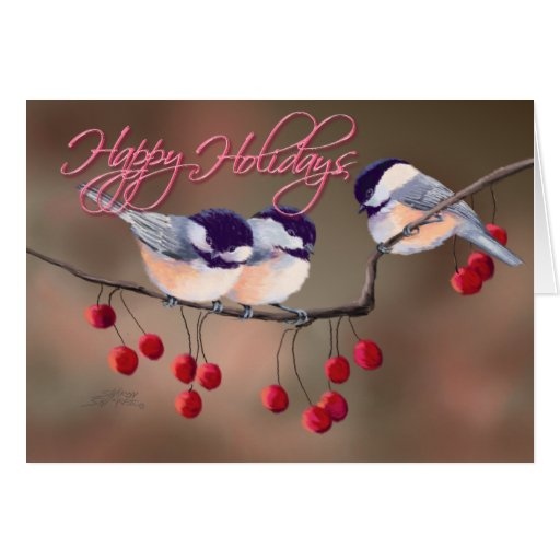 CHICKADEES, TEXT & RED BERRIES 3 by SHARON SHARPE Card