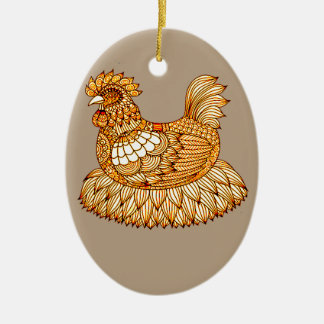 Chicken 2 ceramic ornament