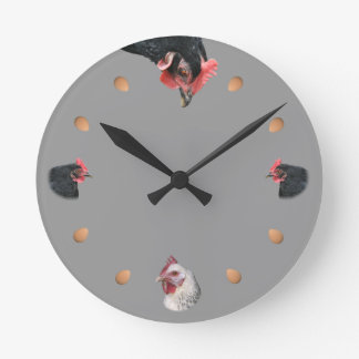 Chicken and egg round clock