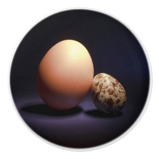 Chicken and quail eggs in love. ceramic knob