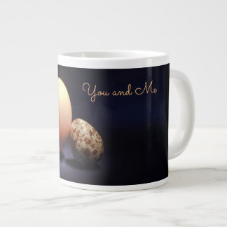 Chicken and quail eggs in love. Text «You and Me». Large Coffee Mug