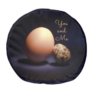 Chicken and quail eggs in love. Text «You and Me». Pouf