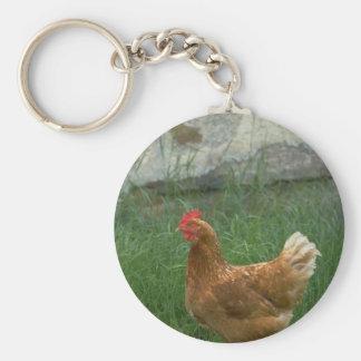 Chicken Basic Round Button Key Ring