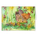Chicken Bird Family Watercolor Blank Note Card