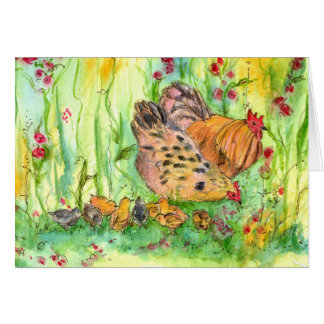 Chicken Bird Family Watercolor Blank Note Card