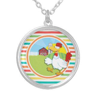 Chicken Bright Rainbow Stripes Pendants