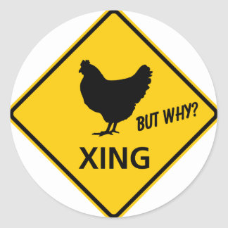 Chicken Crossing Highway Sign Classic Round Sticker