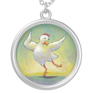 Chicken dance fun colorful art Awesome power Round Pendant Necklace