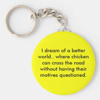 Chicken Dream Basic Round Button Key Ring