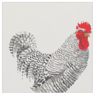 chicken fabric, barred rock rooster fabric large
