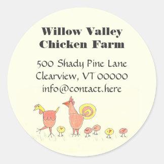Chicken Family Farming Artwork Design Classic Round Sticker