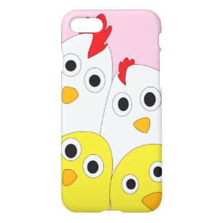 Chicken Family Pink Background Glossy iPhone 8/7 Case
