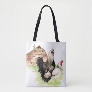 Chicken Farm Rooster & Hen Watercolor Tote Bag