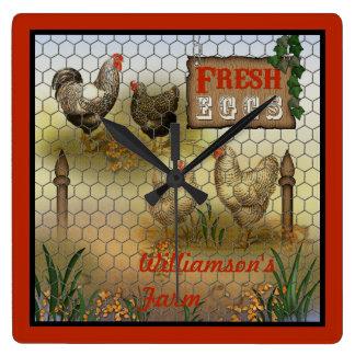 Chicken Farm Yard Fresh Eggs Vintage Wallclock
