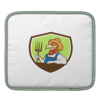 Chicken Farmer Pitchfork Crest Cartoon iPad Sleeve