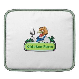 Chicken Farmer Pitchfork Vegetables Cartoon iPad Sleeves