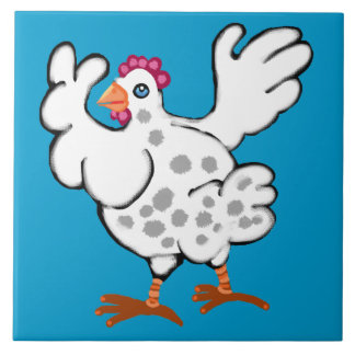 Chicken flapping her wings ceramic tile