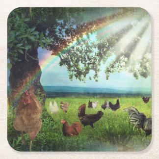 Chicken Heaven Square Paper Coaster