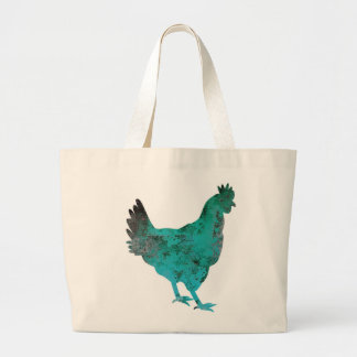 Chicken Hen Teal Blue on White Background Large Tote Bag