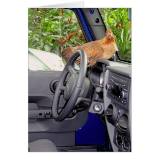 Chicken in a Car! Greeting Card