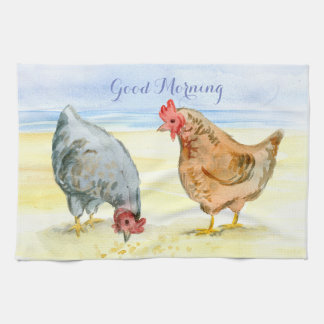 CHICKEN KITCHEN TOWEL, LOVELY FARM HENS EATING TEA TOWEL