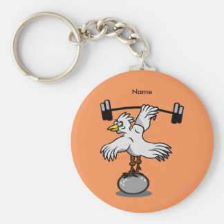 Chicken lifting weights basic round button key ring