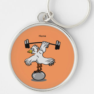 Chicken lifting weights Silver-Colored round key ring