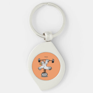 Chicken lifting weights Silver-Colored swirl key ring