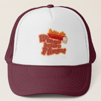 Chicken Motto Wings before Flings Trucker Hat