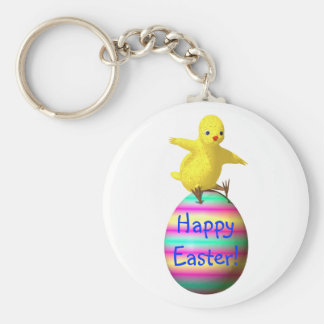 Chicken on Easter Egg Basic Round Button Key Ring