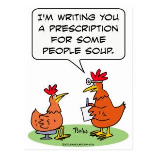 chicken people doctor patient soup postcard