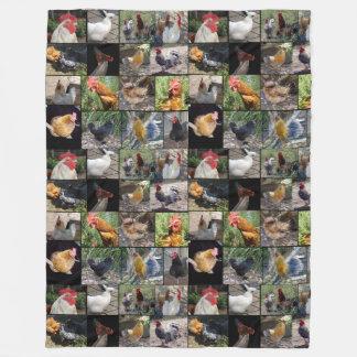 Chicken Photo Collage, Large Fleece Blanket